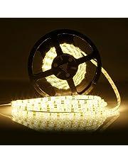LED Light Strip, FVTLED 16.4Ft Flexible LED Strip Light, 300 LEDs SMD 2835 LED, Warm White 3000K, DC12V LED Tape, Waterproof IP65, 15Lm/LED, For Indoor Party Christmas Holidays Home Kitchen Bar Decoration