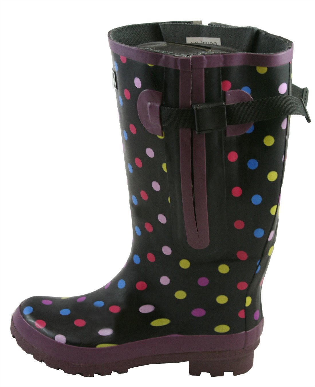 Jileon Extra Wide Calf Rubber Rain Boots for Women-Widest Fit Boots in The US-up to 21 inch Calves-Wide in The Foot and Ankle B006C1QW94 10 E (Extra Wide) US|Black With Polka Dots