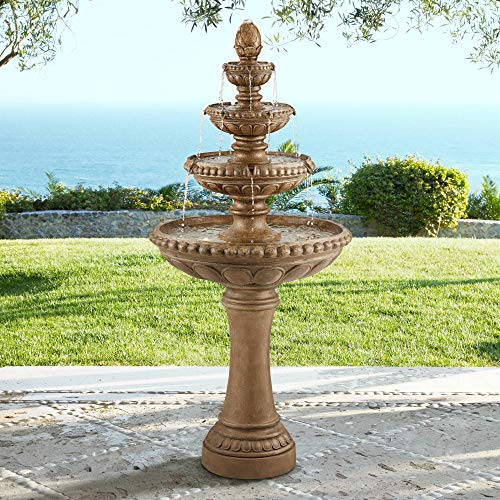 John Timberland Sag Harbor Italian Outdoor Floor Water Fountain with Light LED 66