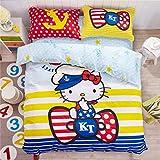 CASA Children 100% cotton series Hello Kitty Duvet cover & Pillow case & Flat sheet,4 Pieces,Queen