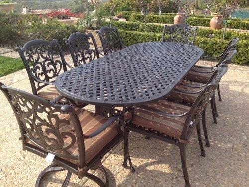 Tropitone Aluminum Oval Table - Heritage Outdoor Living Flamingo Cast Aluminum 9pc Outdoor Patio Set with 42