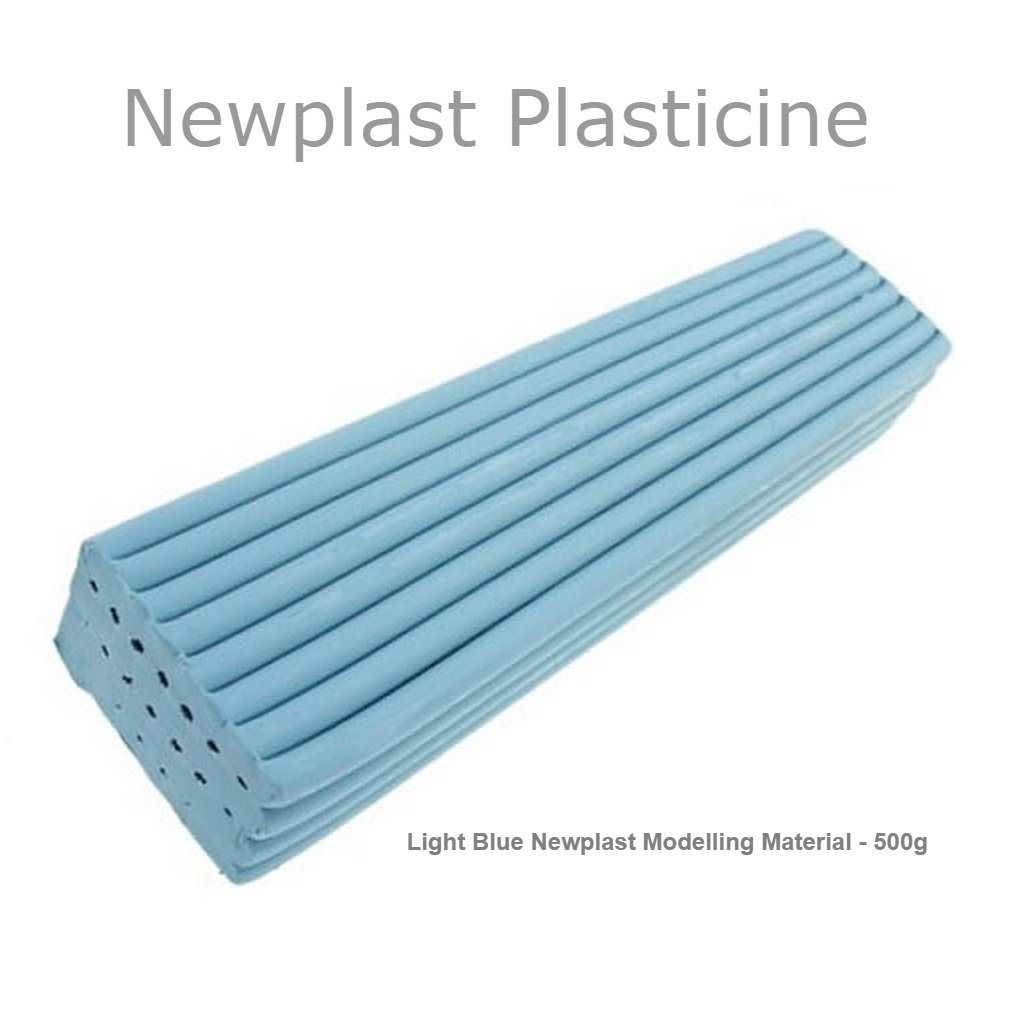 Light Blue Newplast Plasticine Modelling Clay Non Toxic Moulding Material Animators Choice Non Hardening Bar (3 Blocks - 1.5KG) Newclay