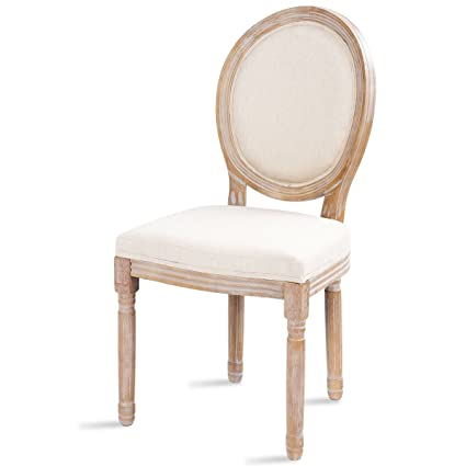 Giantex Rustic Dining Side Chair King Louis Natural Style Distressed Wood  French Retro Upholstered Fabric Wooden