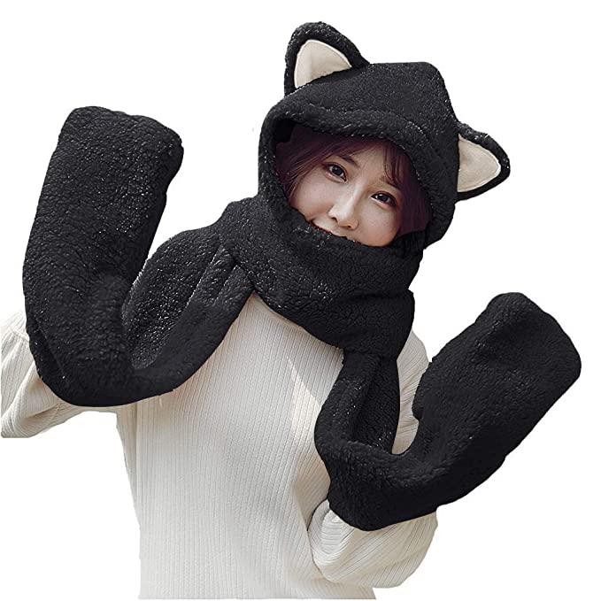 a3084defd Women Girls Cute Panda Animal Winter Hats 3 in 1 Warm Plush Hoodie Cap Paw  Gloves Mitten Scarf Set
