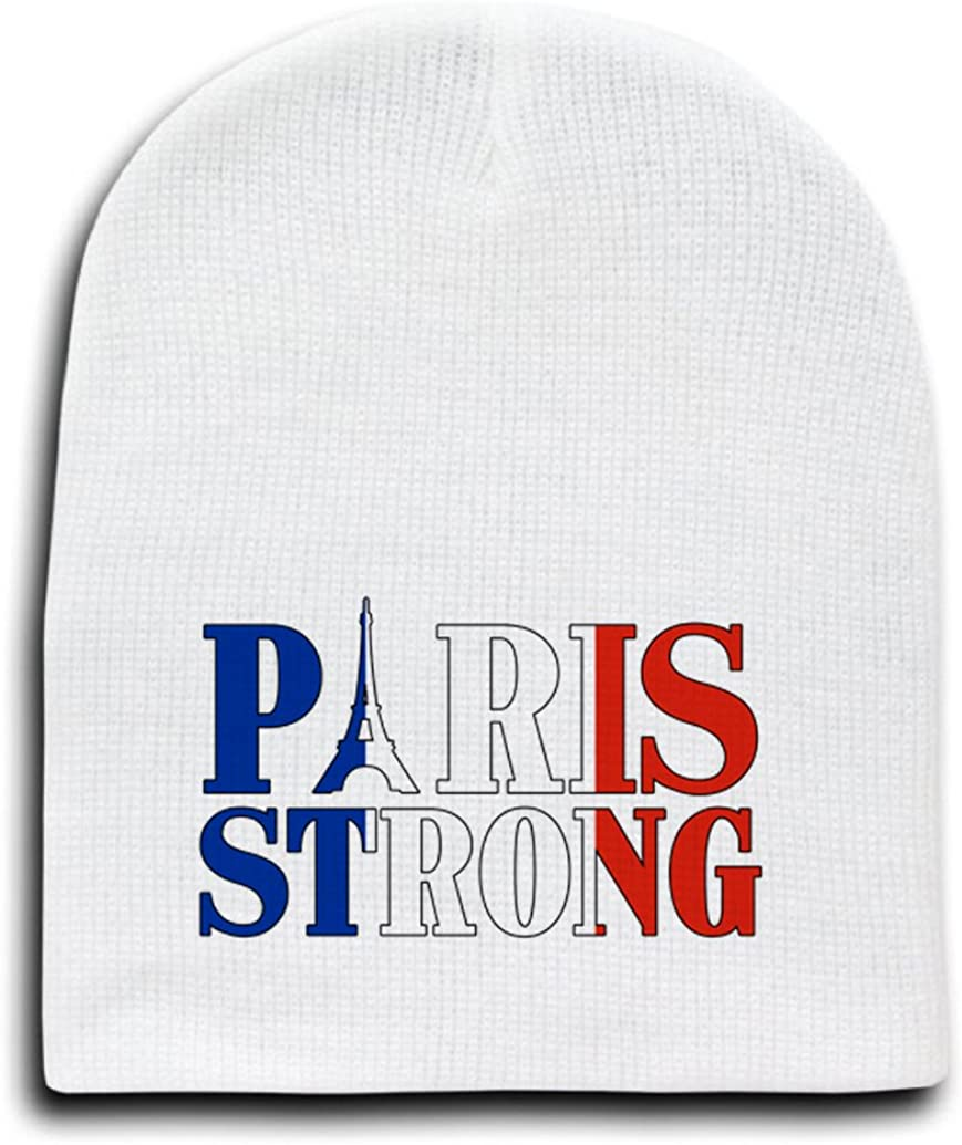 White Adult Beanie Skull Cap Hat - Paris Strong Red White and Blue