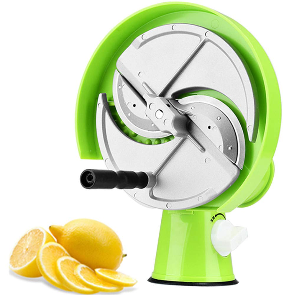 NEWTRY 1-8mm Thickness Adjustable Commercial Fruit and Vegetable Slicer Manual Cutter Kitchen Cutting Machine for Lemon Potato Fruit Tea