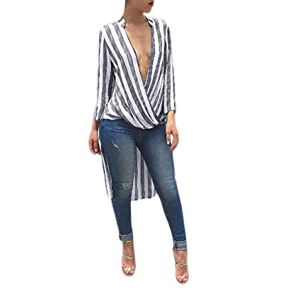 343954c3 Women Blouse Daoroka Ladies Sexy Long Sleeve Deep V Neck Stylish Striped  Walker Long Autumn Winter