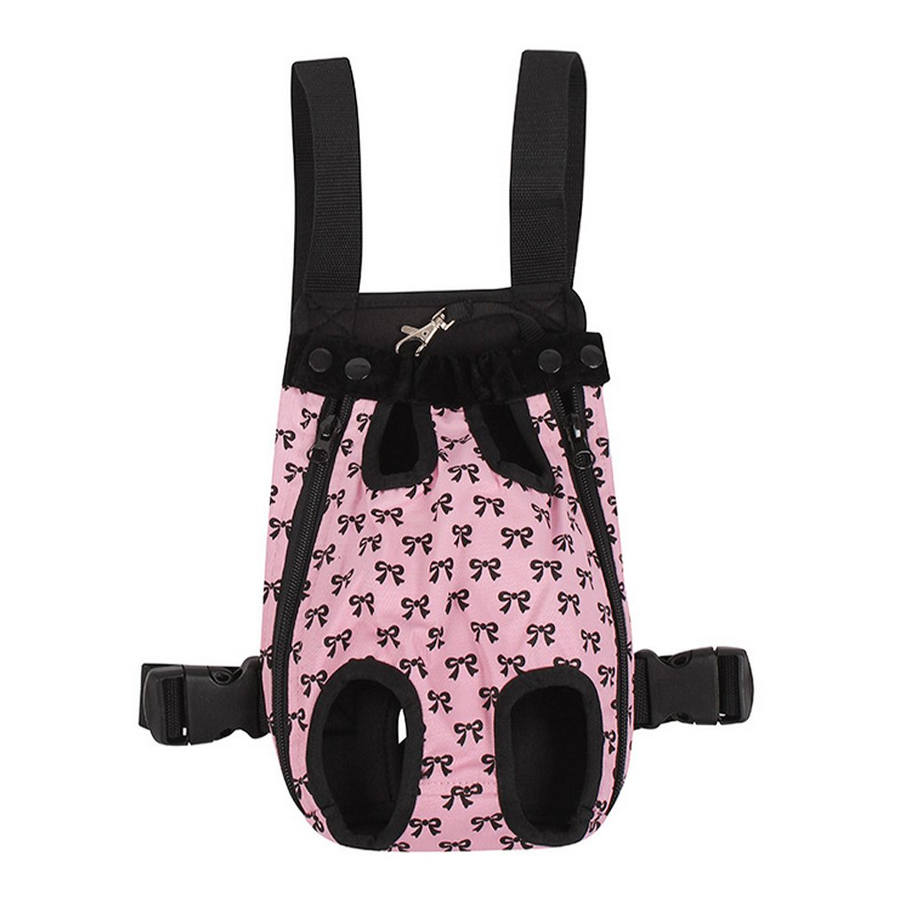 FakeFace Fashion Bowknots Pattern Pet Dog Doggy Sling Legs Out Design Outdoor Travel Durable Portable Front Chest Pack Carrier Backpack Shoulder Bag For Dogs Cats Puppy Carriers Pet Tote Bag - Pink,XL by Fakeface