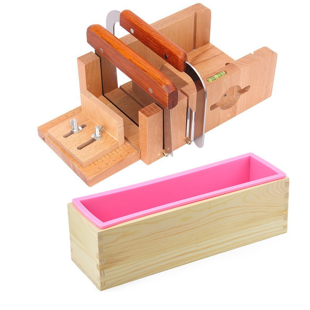 Peicees 2pcs Stainless Steel Cutters + Adjustable Wooden Soap Loaf Cutter Mold + Rectangle Silicone Mold with Wood Box