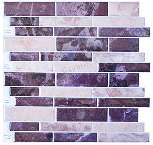 Crystiles Peel and Stick - purple and pink mosaic tiles