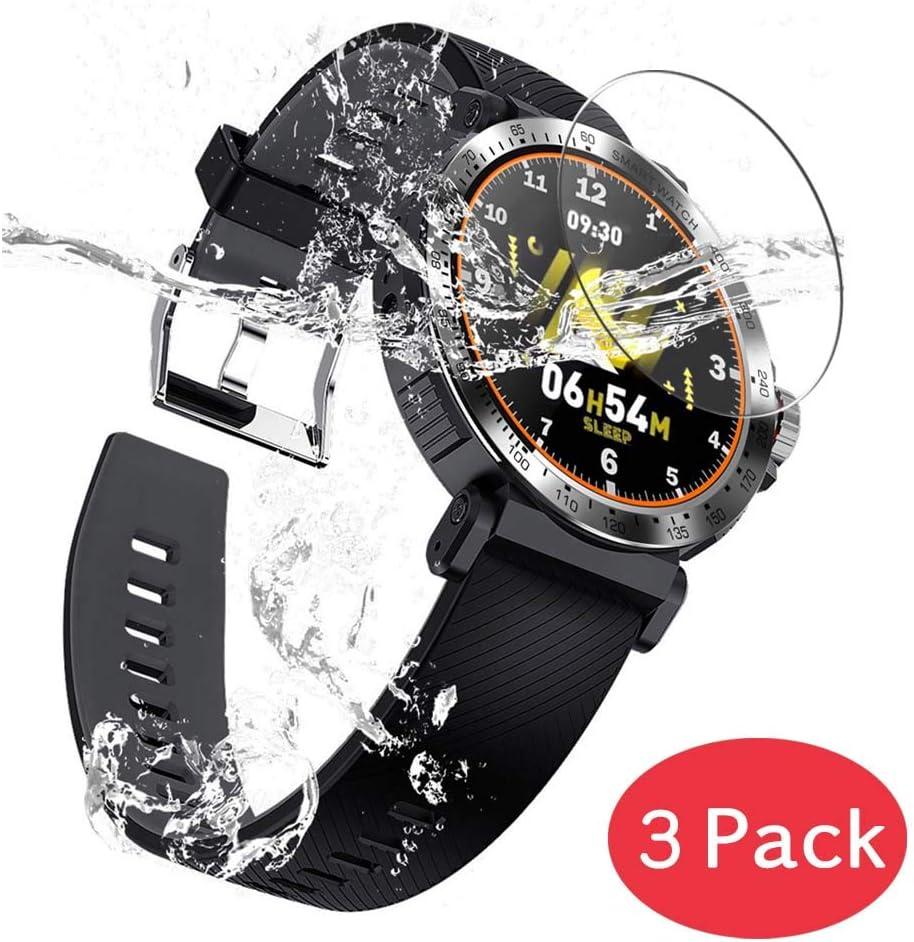 VacFun 3 Piezas Vidrio Templado Protector de Pantalla Compatible con Smartwatch Smart Watch K18, 9H Cristal Screen Protector Sin Burbujas Película Protectora Reloj Inteligente Pulsera New Version