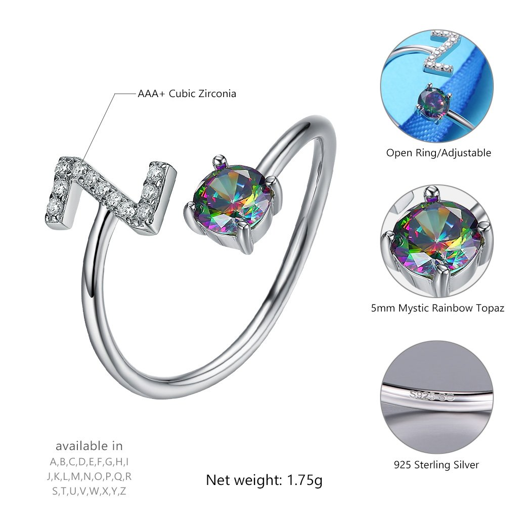 SILVERCUTE Sterling Silver Ring Alphabet Initial Jewelry Mystic CZ End Open Rings Letter A to Z