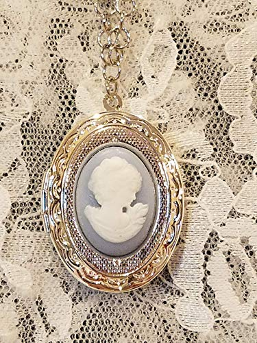 Blue Lady Cameo Silvertone Locket Necklace