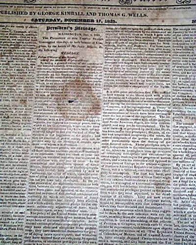 President ANDREW JACKSON Annual State of the Union Address 1831 Old Newspaper NEW HAMPSHIRE STATESMAN & CONCORD REGISTER, Dec. 18, 1825 - New Annual Register