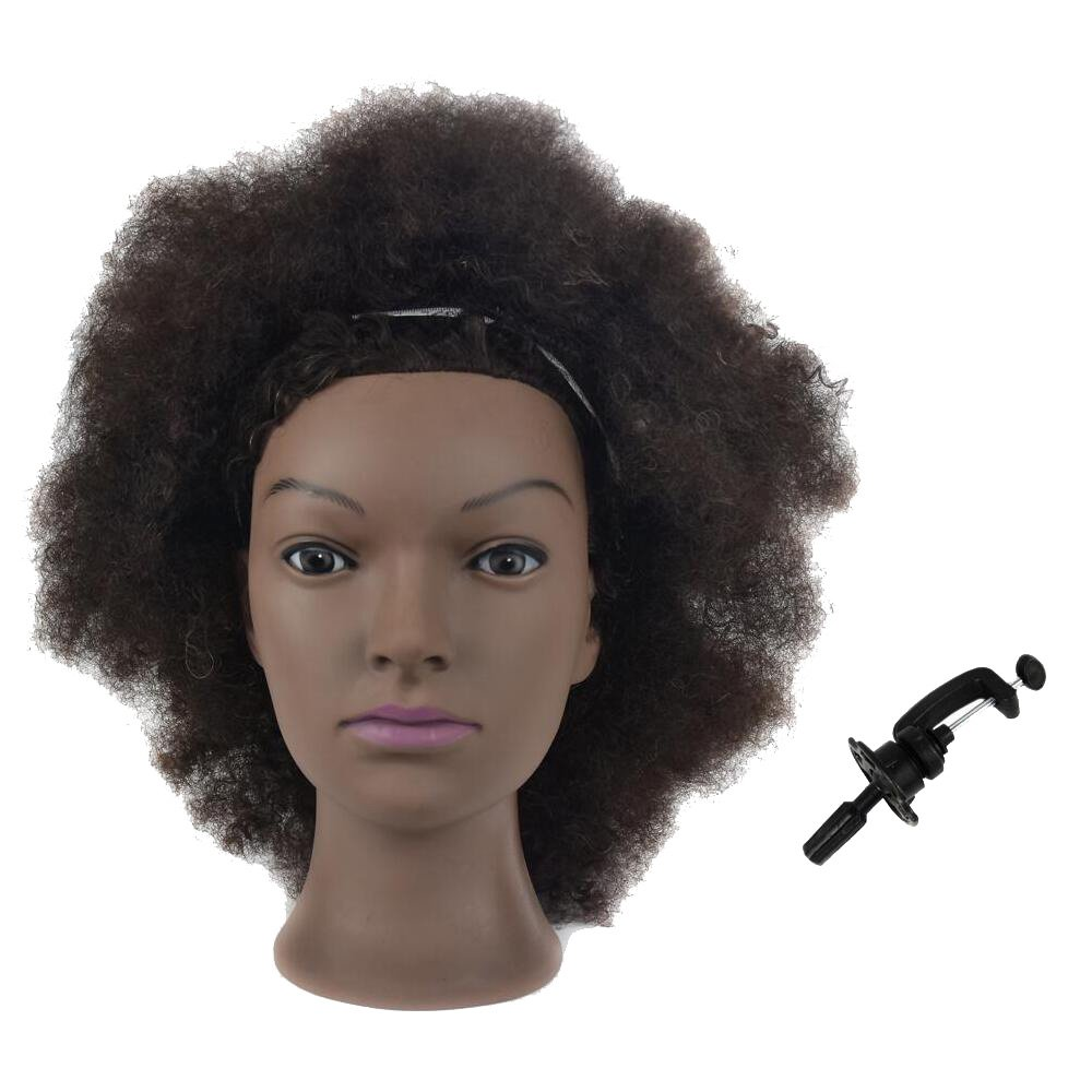 Afro Mannequin Head 100% Human Hair Hairdresser Training Head Manikin Cosmetology Doll Head with Free Table Clamp MMZ