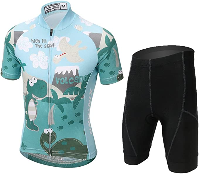 Fahrrad Trikot Kurzarm + Radhose LSERVER-Kinder Radtrikot-Set
