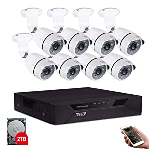 Tonton 8CH Full HD 1080P Expandable Security Camera System, 5-in-1 Surveillance DVR with 2TB Hard Drive and (8) 2.0MP Waterproof Outdoor Indoor Bullet Camera, Free APP Remote Viewing and Email Alert