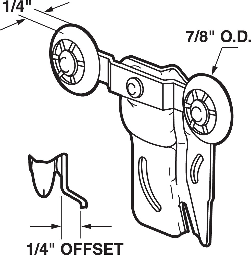 1//4-Inch Offset Prime-Line Products N 6506 Closet Door Tandem Roller Pack of 2 7//8-Inch Nylon, Front