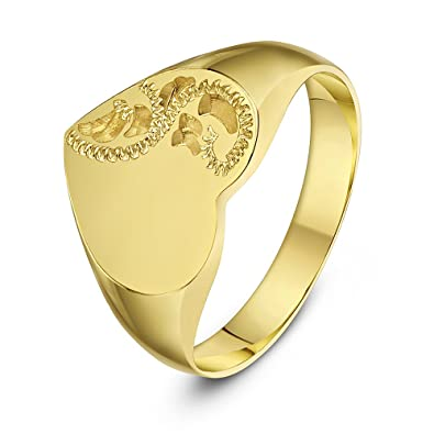 Carissima Gold 9ct Yellow Gold Heart Half Engraved Half Plain Signet Ring QhaV0DXF