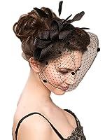 Vimans Women's Bow Feather Detachable Cocktail Party Veil Fascinator Hair Clip Hat