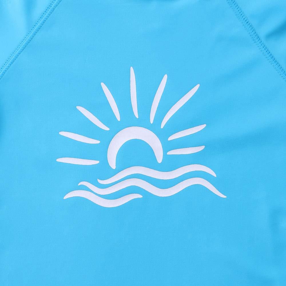 TFJH E Girls' Long-Sleeve Rashguard Swim Shirt UV 50+ Surfing Beachwear, Blue 10A by TFJH E (Image #3)