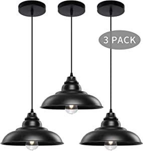 Pendant Lights, Lika Industrial Barn Ceiling Light Fixtures Black Hanging Pendant Lighting for Kitchen Island, Dining Room, Foyer (Black and Flat(Three Pack-Save$4.65))