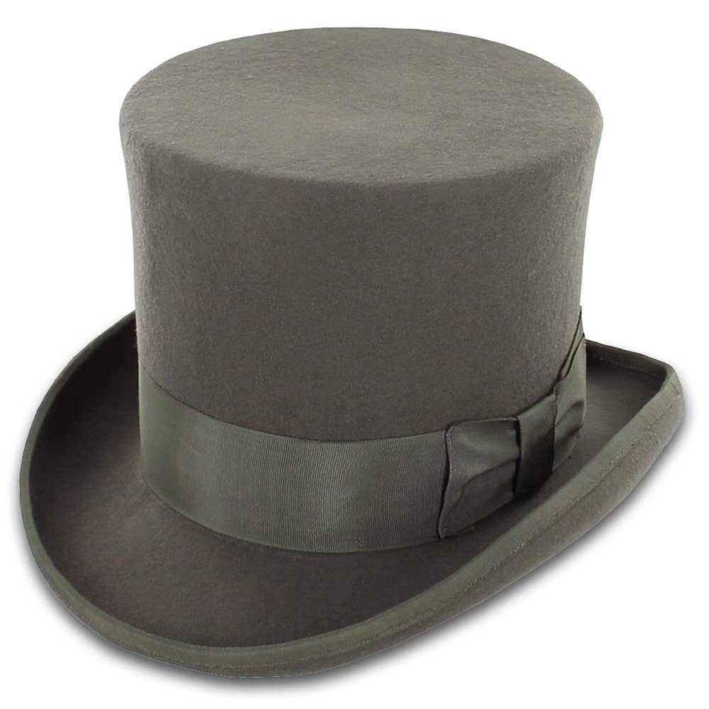 Victorian Men's Hats- Top Hats, Bowler, Gambler Belfry John Bull Theater-Quality Men's Wool Felt Top Hat in Gray or Black $69.00 AT vintagedancer.com