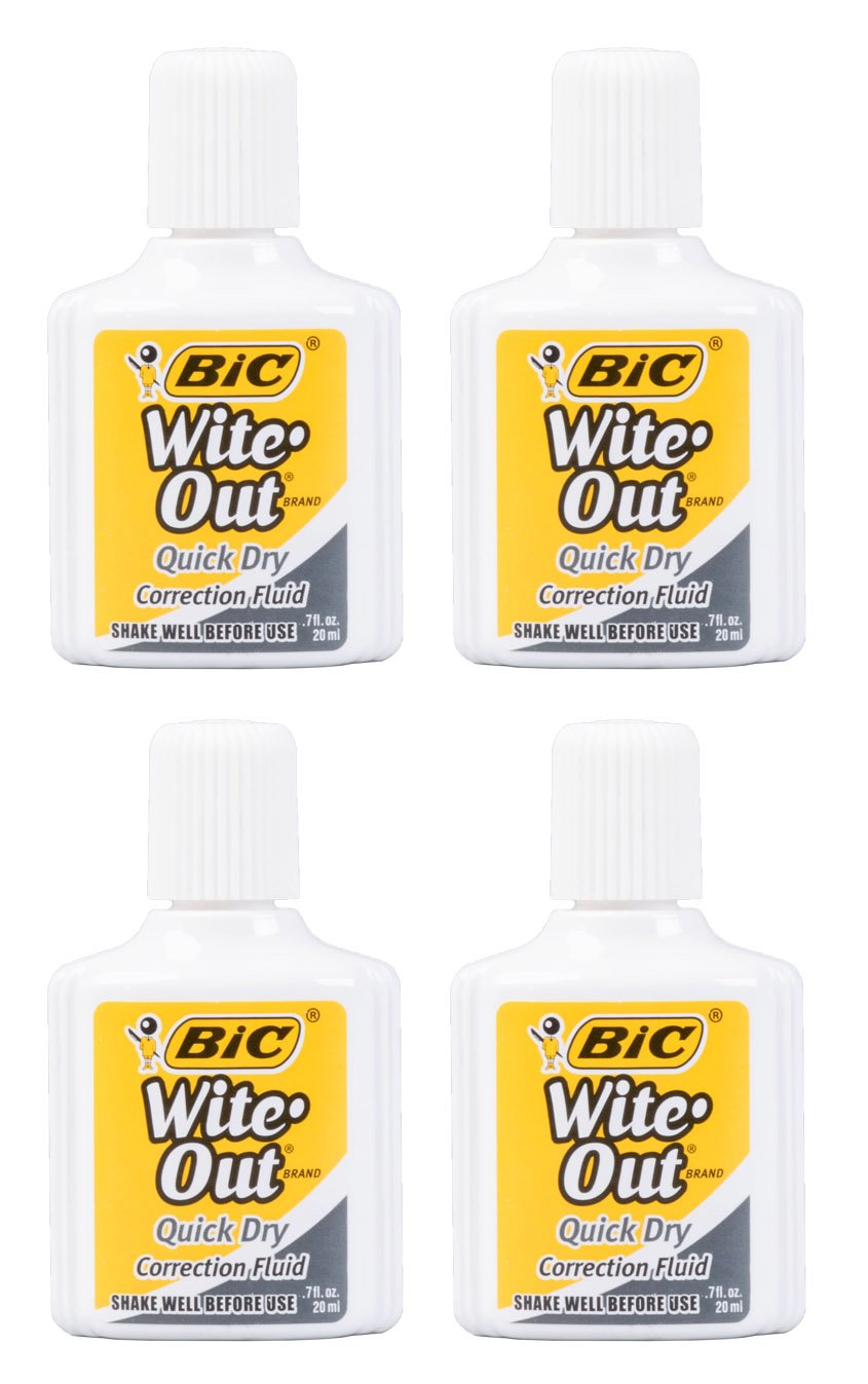 Set of 4 Wite-Out Quick Dry Correction Fluid -.7fl.oz./20ml per Bottle - Foam Wand Applicator - White - Works on Red and Dark Ink and Permanent Marker!
