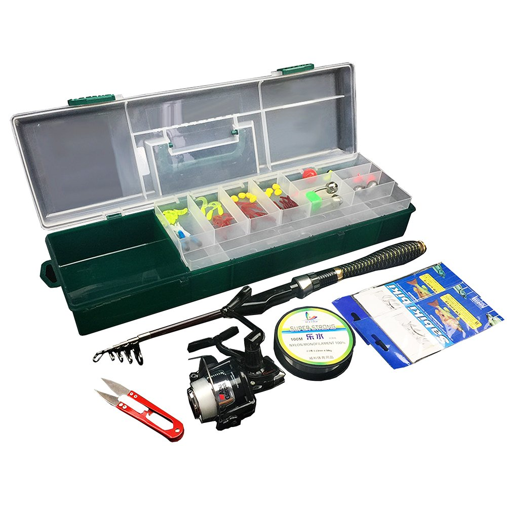 Oak-Pine 56 Tackle Pcs Portable Fishing Box Rod and Reel Combos with Kit Carbon Fibre Telescopic Fishing Rod Fishing Lure Accessories Set Fishing Tackle Box with Handle for Freshwater Saltwater B07C84BDR3, クスバシハクイ:5d1d424b --- ferraridentalclinic.com.lb