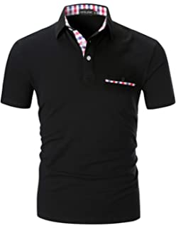 e502e21e8 STTLZMC Polo Shirts for Men Short Sleeve Casual Fit Plaid Collar T-Shirts