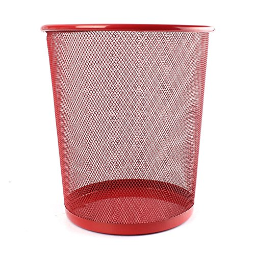 SODIAL(R) Office Can iron Mesh Waste Bin Wastebasket Rubbish Paper Net Trash Basket Red 26.5*23.5*18.5cm LEPTS2146