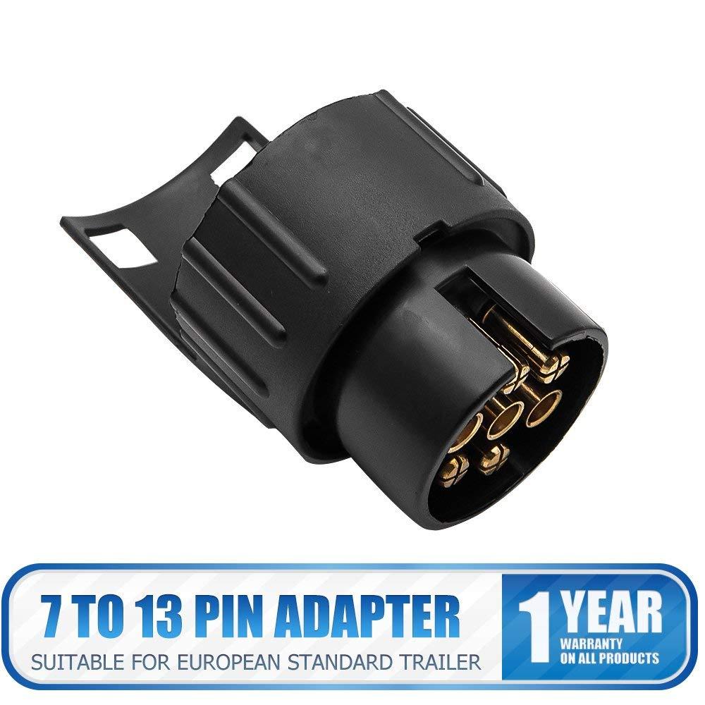 Trailer/Plug/Socket by SUNWAN 13 to 7 pin N /& S Euro Socket Car Trailer Truck Towbar Towing Socket Plug Adapter Converter 12V waterproof trailer plug black-5.waterproof 13 to 7pin towing socket