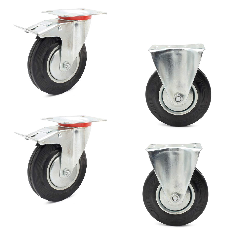 Miafamily transporte ruedas ruedas ruedas para muebles con freno Ruedas y cargas pesadas ruedas ruedas fijas Negro Goma Chapa de acero galvanizado, ...