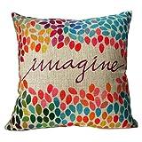 "Decorhome Cotton Linen Square Decor Throw Pillow Case Cushion Cover Colorful Imagine 18"""