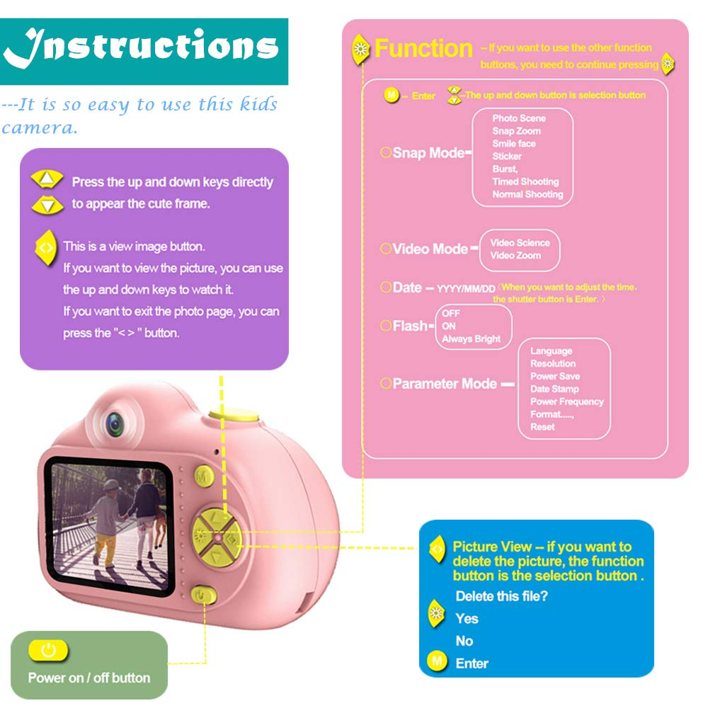 PerfectPromise Kids Toys Camera for Girls Boys,8MP Front and Back Camera 1080P HD Video Recorder Digital Camera for Children Girl Boy Gifts---Pink(32G TF Card Included) by PerfectPromise (Image #6)