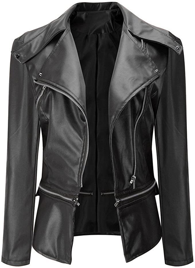 Autumn Womens Biker Motorcycle Leather Zip Jacket Casual Loose Coat Outwear Tops