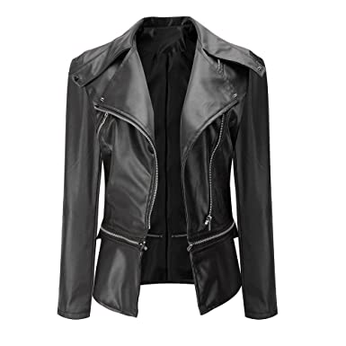 c7c920f277f kemilove Women s Lambskin Leather Bomber Biker Jacket at Amazon Women s  Coats Shop