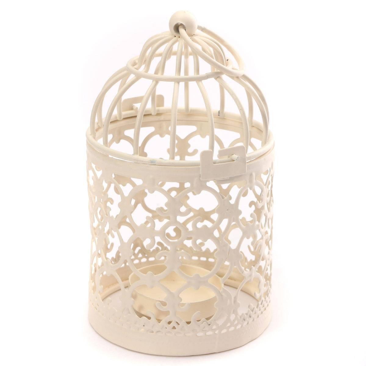 Freedi Metal Candle Holder Centerpiece Decorative Hollow out Birdcage Iron LED Hanging Candlestick Lantern