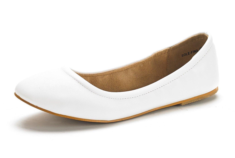 DREAM PAIRS Women's Sole-Fina White Solid Plain Ballet Flats Shoes - 8 M US