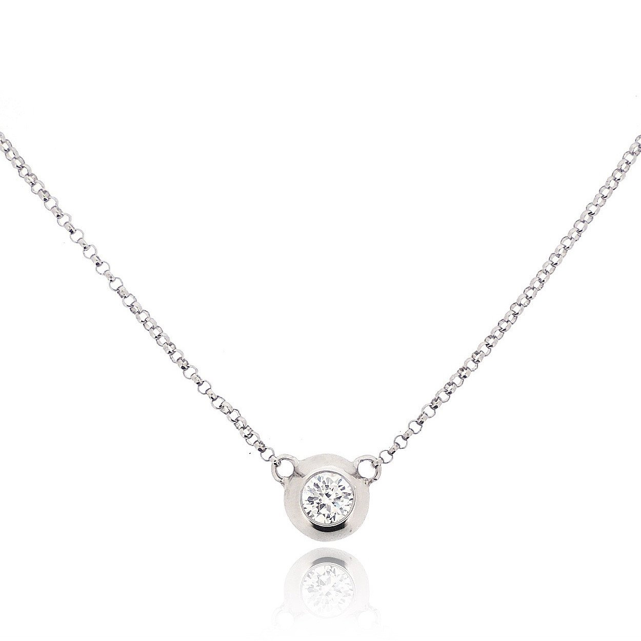 Sovats Round Necklace for Women Set with White Cubic Zirconia 925 Sterling Silver Rhodium Plated - Simple, Stylish &Trendy Necklace for Teens and Girls East India 857_en0087_us