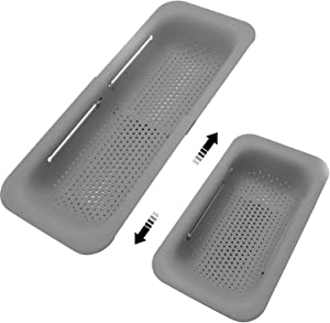 Sink Colanders and Strainers Basket Retractable Plastic Fruit Vegetable Strainer Drainer Basket for Kitchen (Length 14.3 inch-19.4 inch) (Gray)
