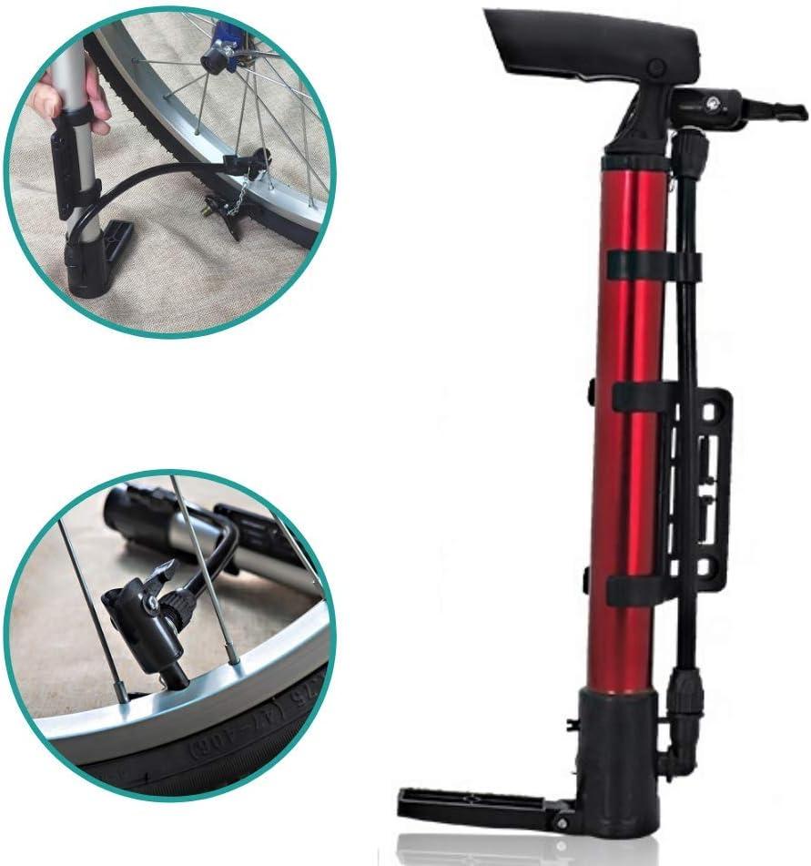 Patabit Gonfiatore Bici Accessori Bicicletta MTB Mini Pompa in Alluminio a Pedale con Raccordo A Doppia Entrata per Tutti I Tipi di Valvola Pompa per Bicicletta Portatile