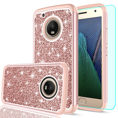 Case,Moto X 2017 Case with HD Screen Protector,LeYi Girls Women Hybrid Soft TPU Hard PC Dual Layer Shock Absorption Protective Case for Moto G Plus (5th Generation) FZ Rose Gold ()