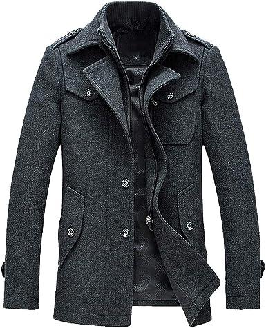 YUTAO Mens Trench Coat Autumn Winter Long Jacket Overcoat Business Coat Outwear