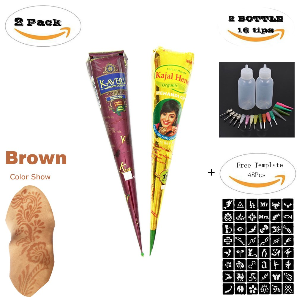 ZEYER 2 Tube India Temporary Tattoo Paste Cone Tattoo Kit Temporary Brown Paste Cones for Body Art Drawing Painting with 2 x Applicator Bottle,16 x Needles and 48 x Adhesive Stencil Set