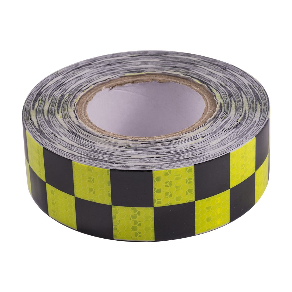ATMOMO YELLOW BLACK Warning Tape Strip Reflective Safety Stickers Waterproof For Trailers Vehicles Trucks Cars Motorcycles Bicycles 5CMx25M
