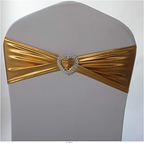 Star Diamante Buckle Gold Pack of 6 Chair Sashes Wedding Decor