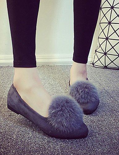 de mujeres zapatos señaló Flats las plano PDX cn39 negro Toe Casual talón gris eu39 black us8 uk6 SwAn54