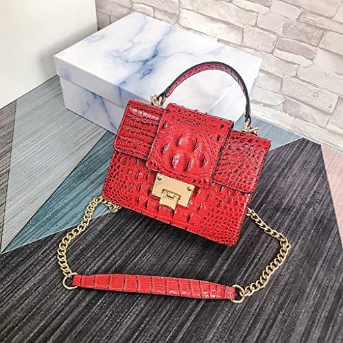 Uplord Fashion Women Vintage Alligator Leather Crossbody Bags Messenger Bags Handle Bag Travel Bag,with Interior Slot Pocket,20cm(L) x9cm(W) x16cm(H) (Valentine Travel Express)