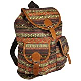 Oaxaca Tribal Design Bohemian Backpack, Cool Vintage Woven Canvas Casual Daypack